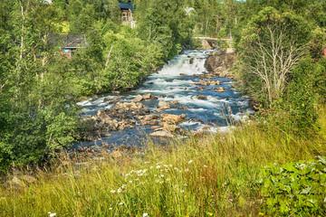 Panel Szklany Rzeki i Jeziora Waterfall and river in Norway