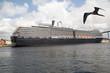 Großes Kreuzfahrtschiff mit Vogel (Fregattvogel) am Himmel