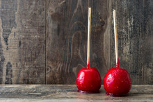 Candy Christmas Apples On Wood...