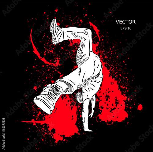 Parkour Jumping man. Outdoor sport. Vector illustration Canvas Print