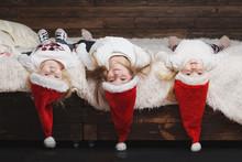 Cute Happy Children With Santa...