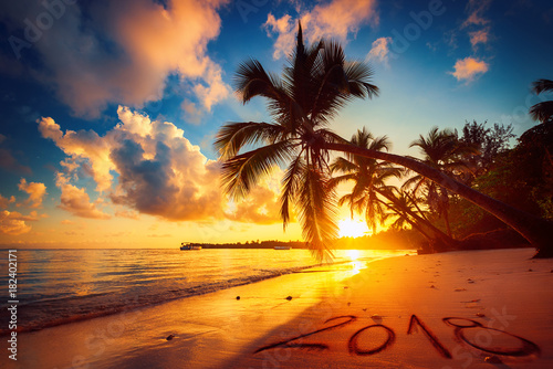 Fototapeta Happy New Year 2018 concept, lettering on the beach. Sea sunrise. obraz na płótnie