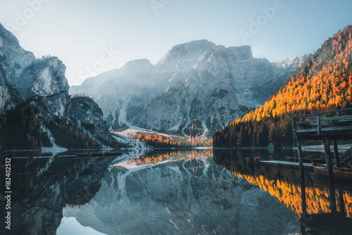 Acrylic Prints Green blue Boats on the Braies Lake ( Pragser Wildsee ) in Dolomites mountains, Sudtirol, Italy