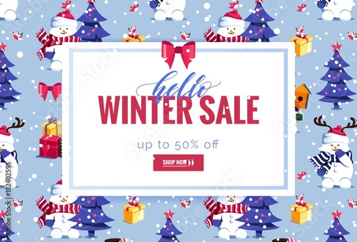 Hello Winter Sale Poster Beautiful Winter Background With Holiday