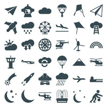 Set Of 36 Sky Filled Icons