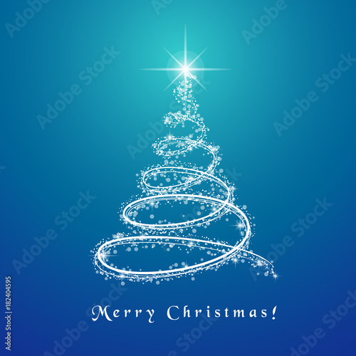 abstract christmas tree design with lit and glowing lights spinning