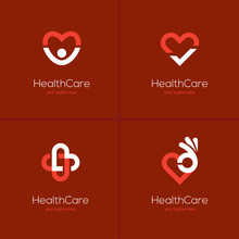 Health Care Logo Set With Heart Shape.