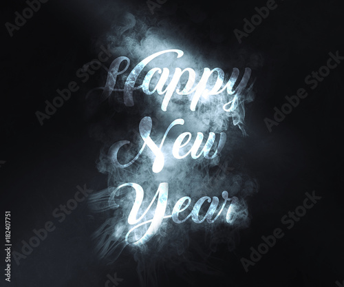 Happy new year background wth smoke writing Wallpaper Mural