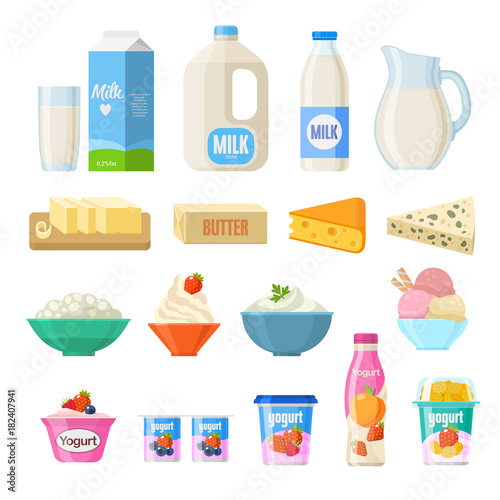 Leinwand Poster Vector collection of dairy products in flat style including milk, butter, cheese, yogurt, cottage cheese, sour cream, ice cream, cream, isolated on white