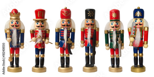 Cuadros en Lienzo Collection christmas nutcracker toy soldier traditional figurine, Isolated on wh