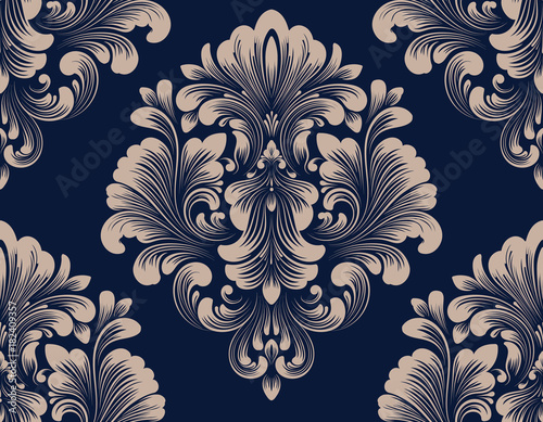 Fototapeten Künstlich Vector damask seamless pattern element. Classical luxury old fashioned damask ornament, royal victorian seamless texture for wallpapers, textile, wrapping. Exquisite floral baroque template.