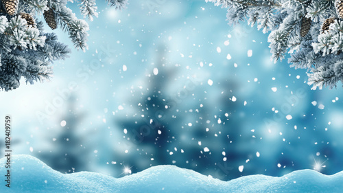 Photo sur Aluminium Piscine Merry christmas and happy new year greeting background .Winter landscape with snow and christmas trees