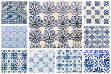 Fototapeta Beautiful collage of different traditional portuguese tiles called azulejos