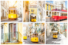 Photo Collage With Famous Retro Tourist Trams In Lisbon, Portugal