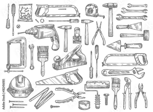 Photo Vector work tools sketch icons for house repair