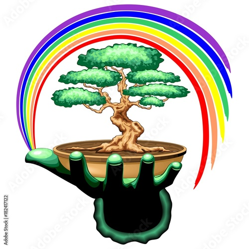 Spoed Foto op Canvas Draw Bonsai Tree and Rainbow on Green Hand
