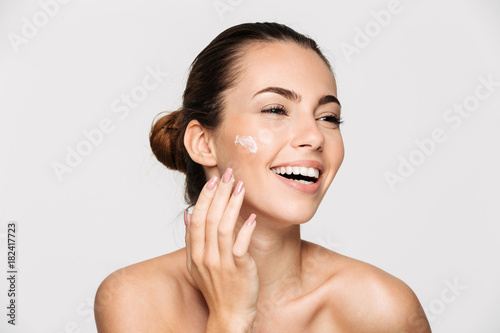 Obraz Close up beauty portrait of a laughing half naked woman - fototapety do salonu