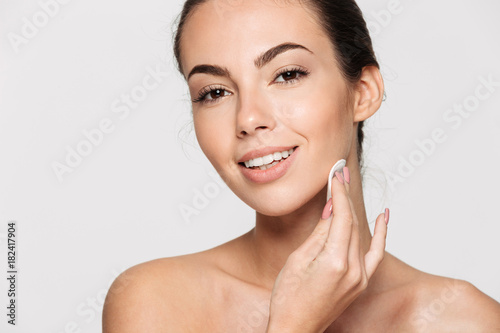 Leinwand Poster  Close up beauty portrait of a happy attractive woman