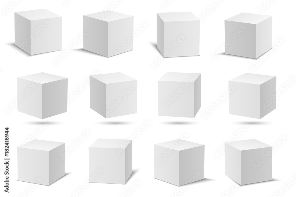 Fototapety, obrazy: White vector cubes. Cube white collection. 3d models with perspective. Vector stock illustration isolated on white background.