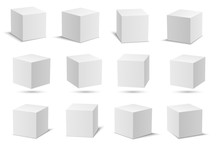 White Vector Cubes. Cube White...