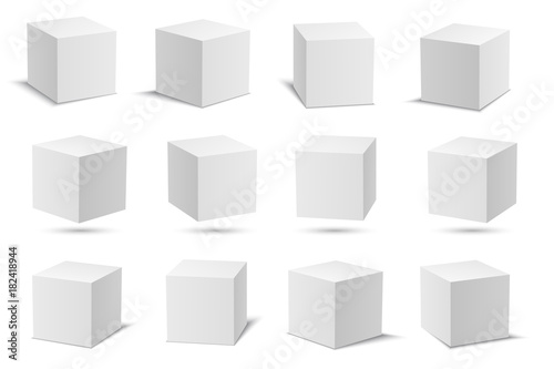 Photographie White vector cubes