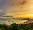 Panoramic view of Pattaya City at dawn