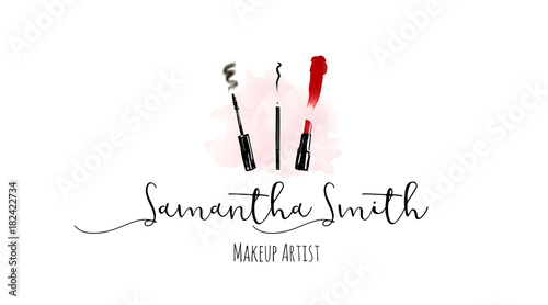Makeup Artist Business Card Vector Template With Make Up Items