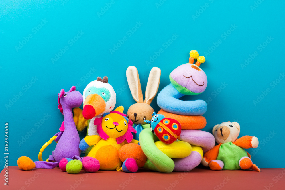 Fototapety, obrazy: Set of colorful Kids toys frame. Copy space for text