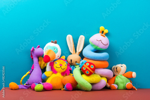 Fotografia, Obraz Set of colorful Kids toys frame. Copy space for text