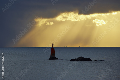 Sunset at the Pointe de St. Mathieu, Dept. Finistere, Bretagne, France, Europe