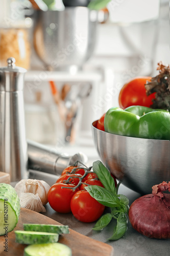 Composition with vegetables on table