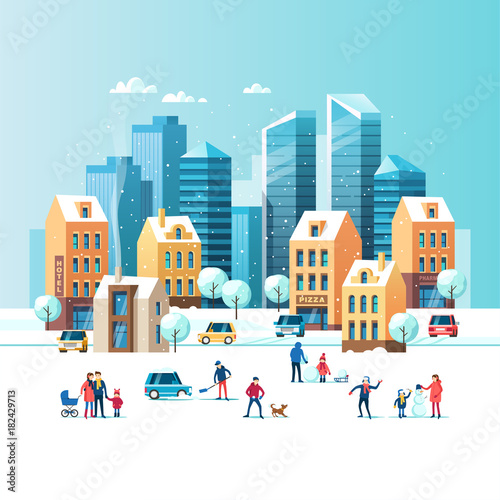 Fototapety, obrazy: Snowy street. Urban winter landscape with people, modern skyscrapers and traditional city houses. Vector illustration.