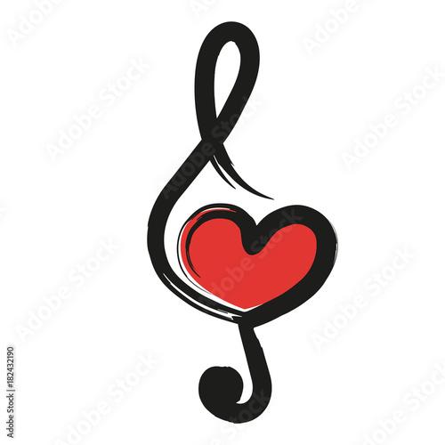 Musique Cœur Amour Clé De Sol Concept Symbole