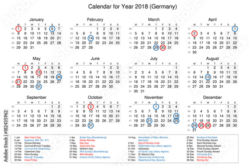 calendar of year 2018 with public holidays and bank holidays for germany