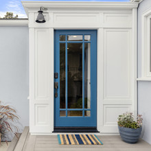 Glass Entry Door. Front Door In Lively Blue With Framed Glass And Electronic Lock Entry.