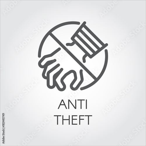 Anti theft icon drawing in line style Wallpaper Mural