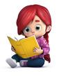 niña leyendo un libro sentada en el suelo