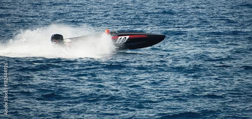 Garden Poster Water Motor sports Speed boat cruising in the ocean,boat race