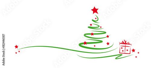 Fototapeta grüner tannenbaum mit sternen und geschenk obraz