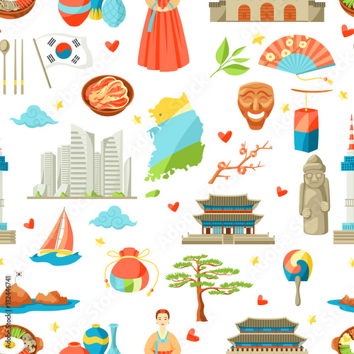 South Korea seamless pattern Poster