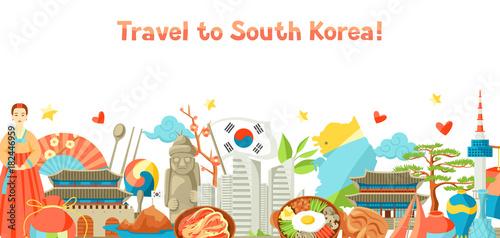 Fotografía  South Korea banner design. Korean traditional symbols and objects