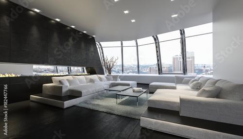 Fotografie, Obraz  Luxus Penthouse lounge Raum mit Aussicht auf Stadt