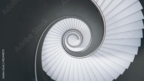 Fotografie, Obraz  Wendeltreppe -Blick von oben nach unten-