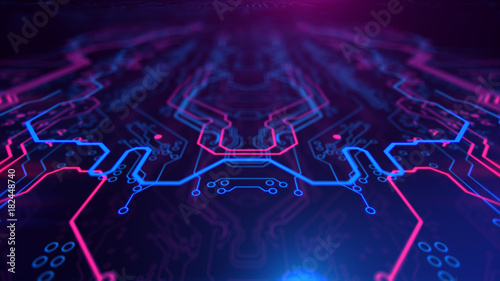 Fotografiet  Purple, violet, blue neon background with digital integrated network technology
