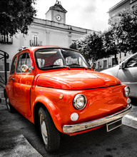 Vintage Red Italian Car Old Selective Color Black And White Italy Town 500