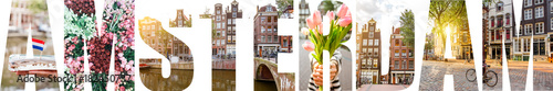 AMSTERDAM letters filled with pictures of famous places and cityscapes in Amster Wallpaper Mural