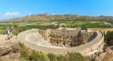 Ancient Roman amphitheater of Aspendos near Antalya. Travel in Turkey for historical and cultural destinations concept