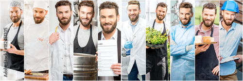 Photo  Collage of portraits of a handsome man with different professions
