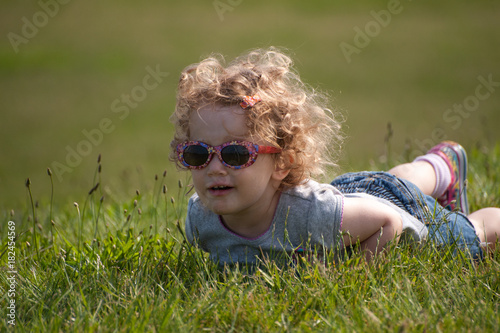 Baby Ellie rolling in the grass #2 Canvas Print