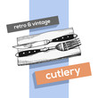 Cutlery vector vintage sketch. fork and knife hand drawing isolated